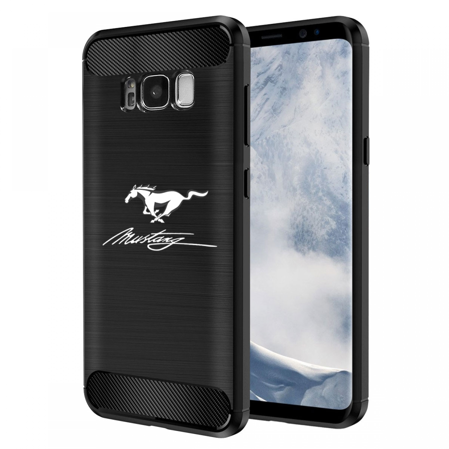 Galaxy S8 Case, Ford Mustang Script TPU Shockproof Black Carbon Fiber Textures Stripes Cell Phone Case