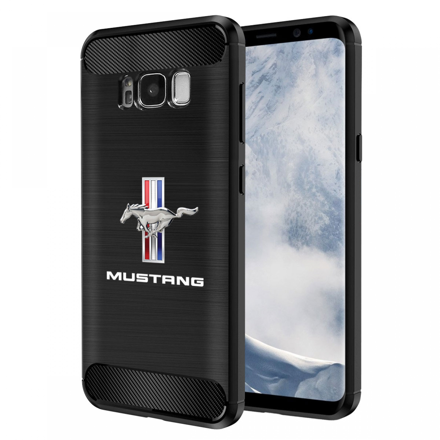 Galaxy S8 Case, Ford Mustang Tri-Bar TPU Shockproof Black Carbon Fiber Textures Stripes Cell Phone Case