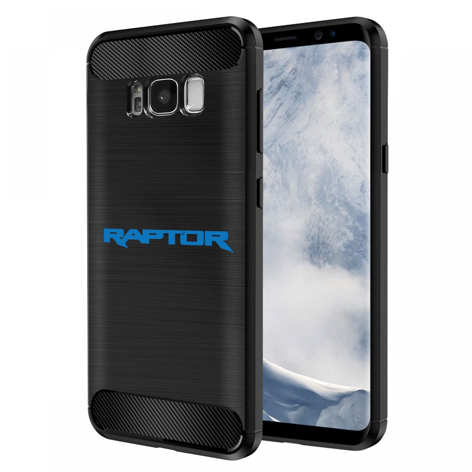 Galaxy S8 Case, Ford F150 Raptor in Blue 2017 up TPU Shockproof Black Carbon Fiber Textures Stripes Cell Phone Case