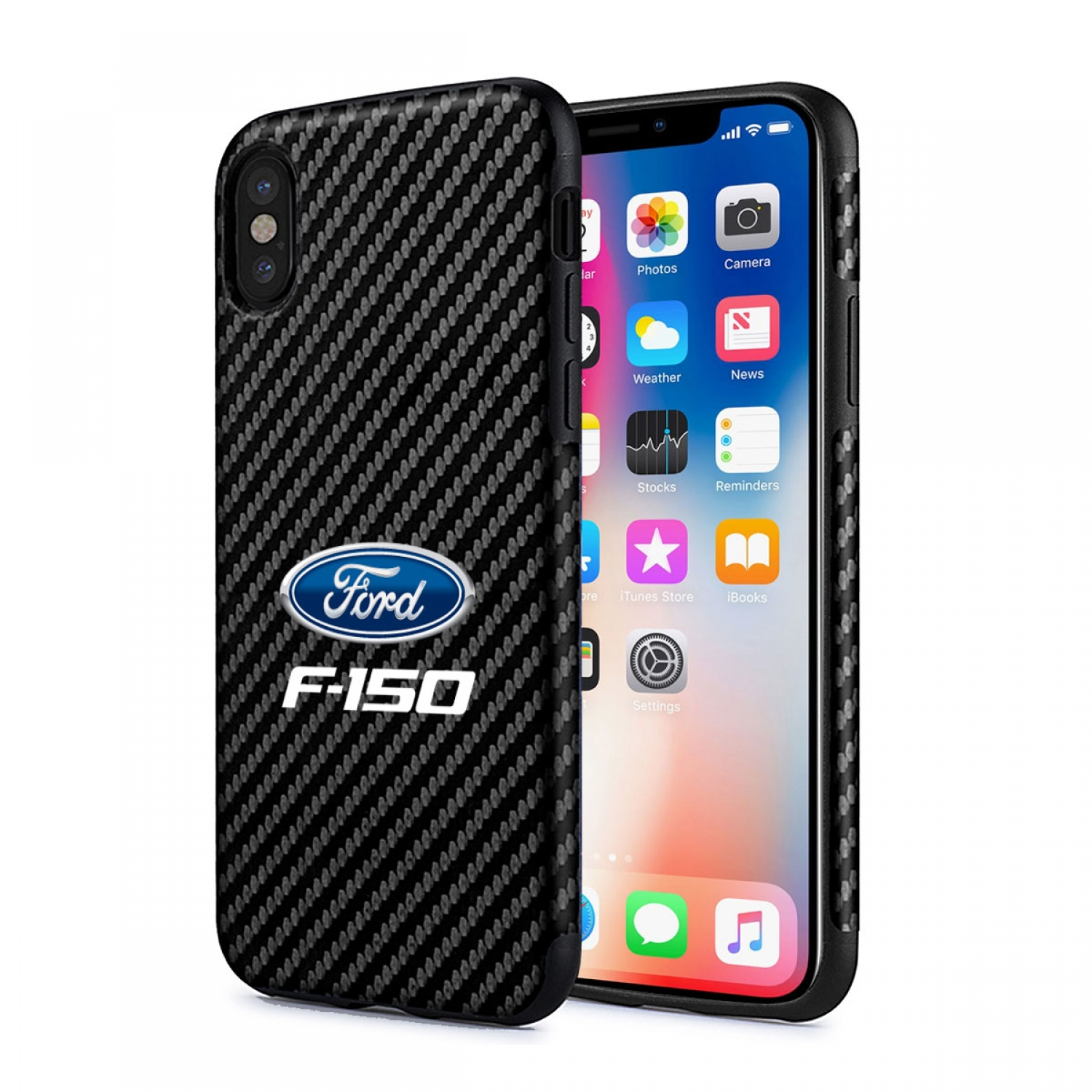 Ford F150 2015 iPhone X Black Carbon Fiber Texture Leather TPU Shockproof Cell Phone Case
