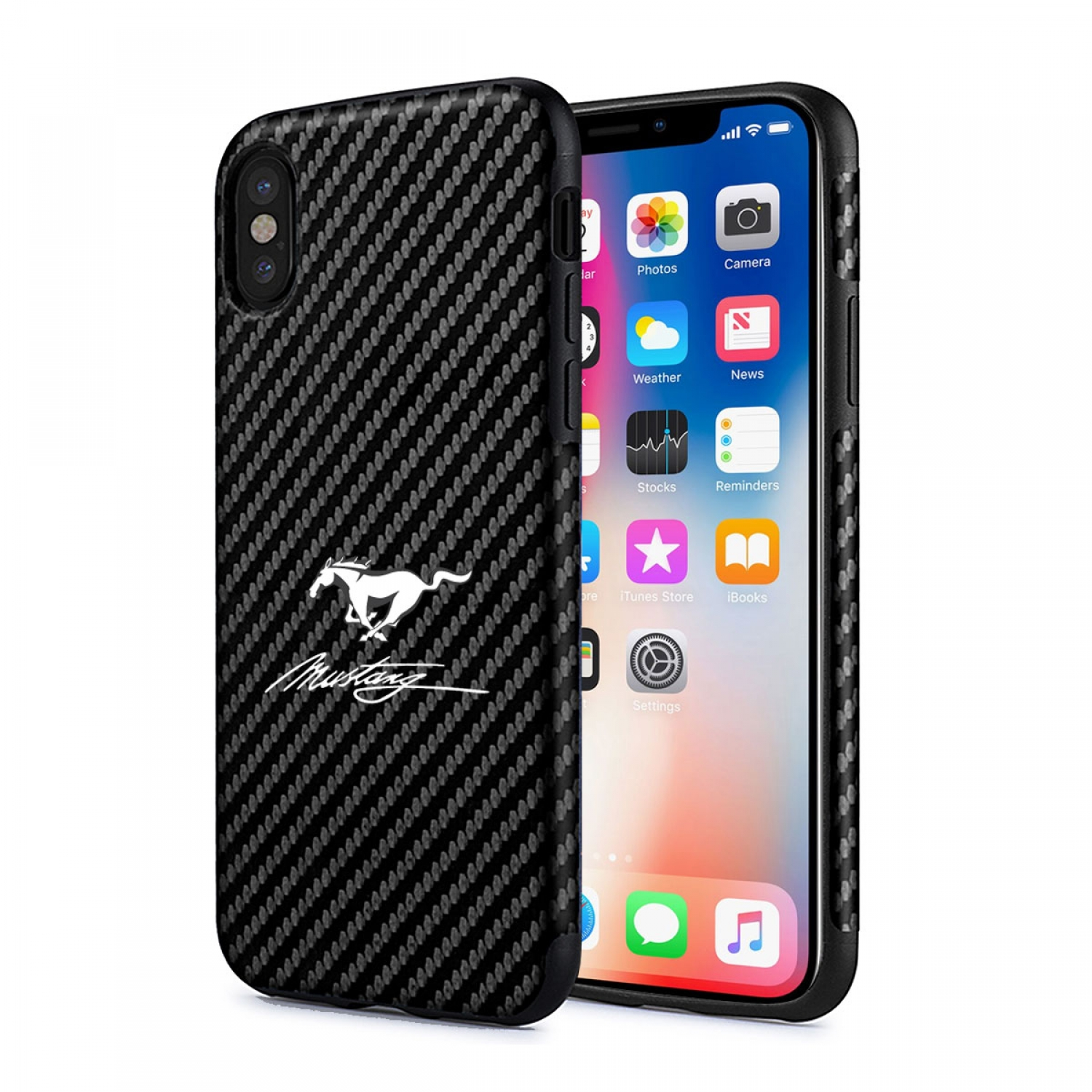 Ford Mustang Script iPhone X Black Carbon Fiber Texture Leather TPU Shockproof Cell Phone Case