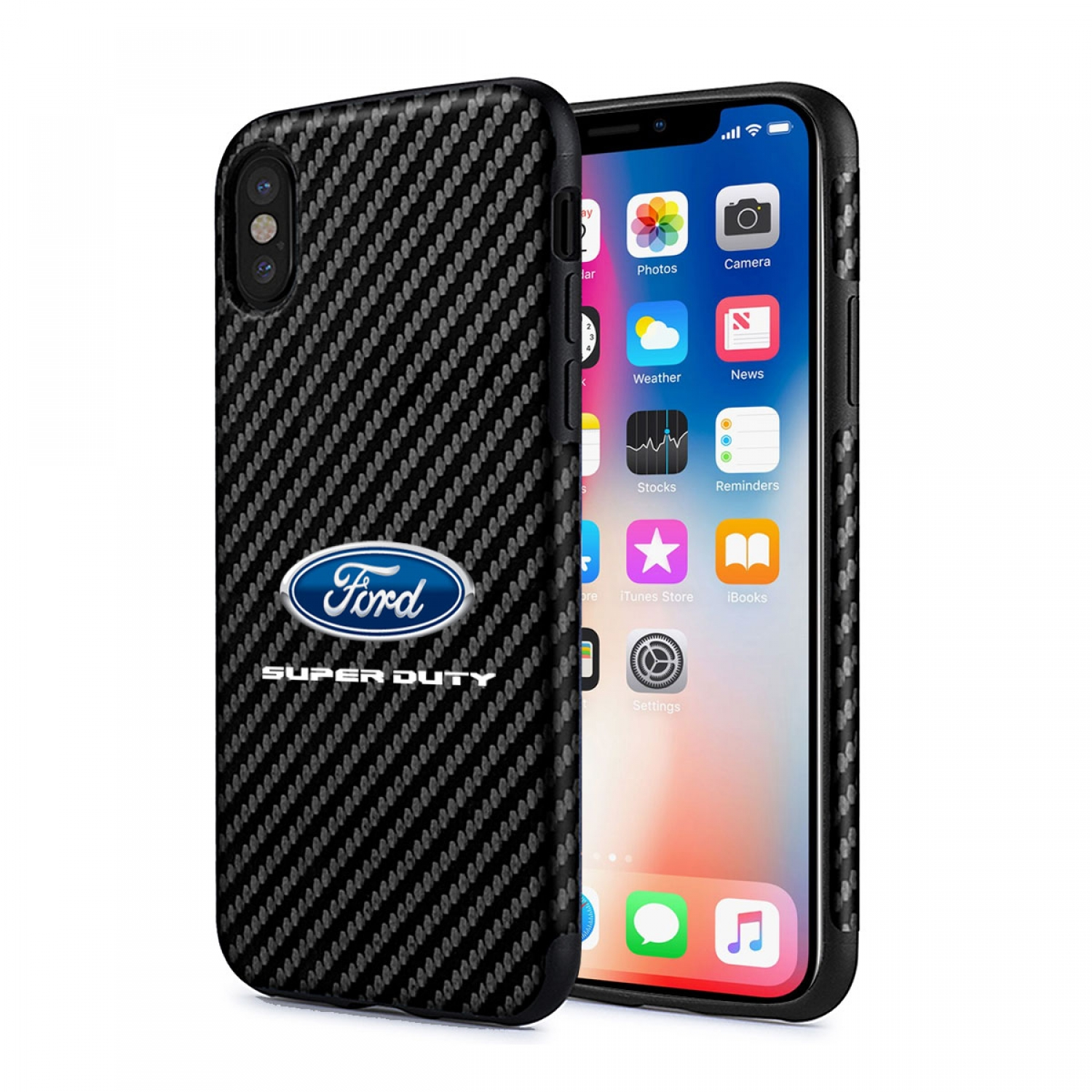 Ford Super Duty iPhone X Black Carbon Fiber Texture Leather TPU Shockproof Cell Phone Case