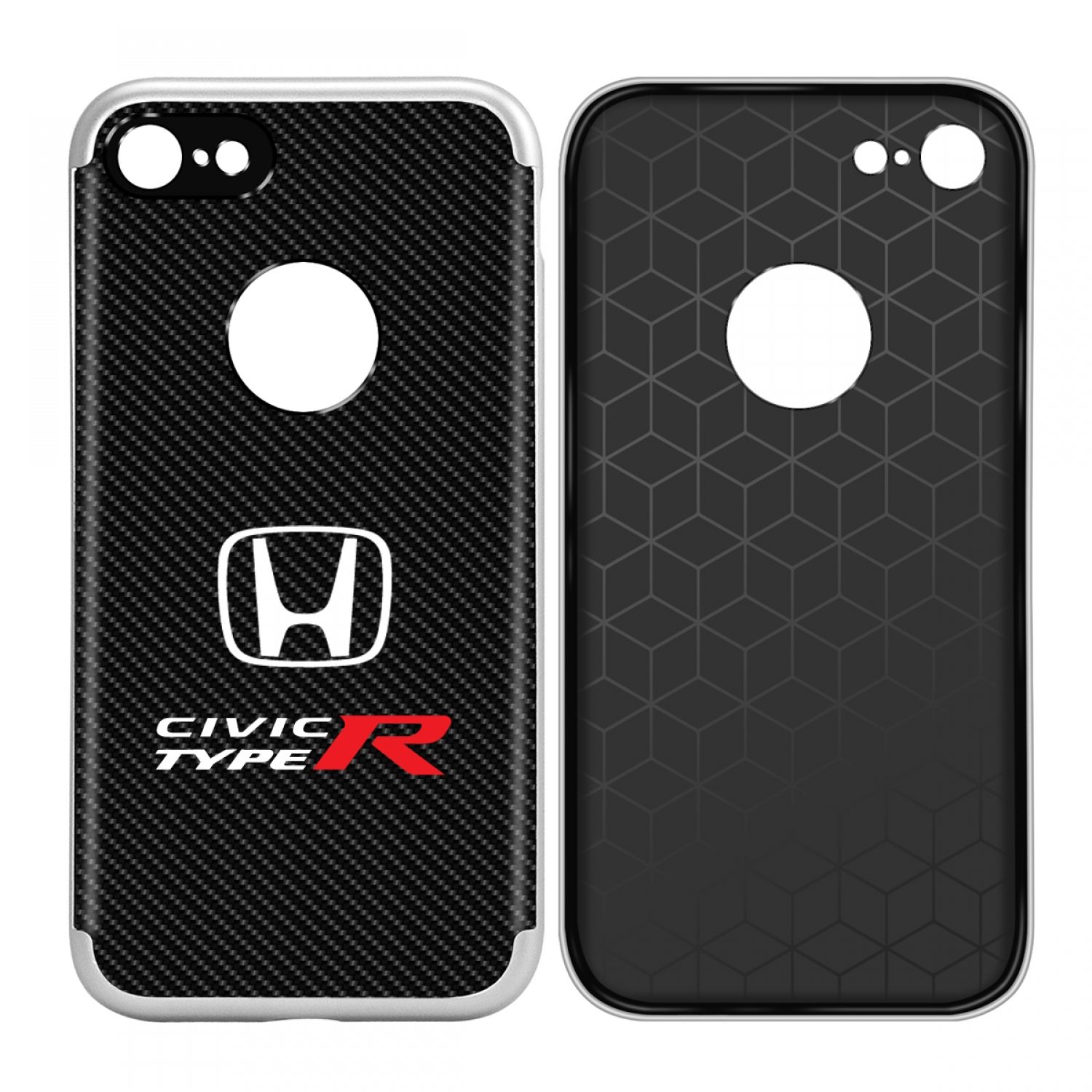 iPhone 7 Case, Honda Civic Type-R Shockproof Black Carbon Fiber Textures Cell Phone Case