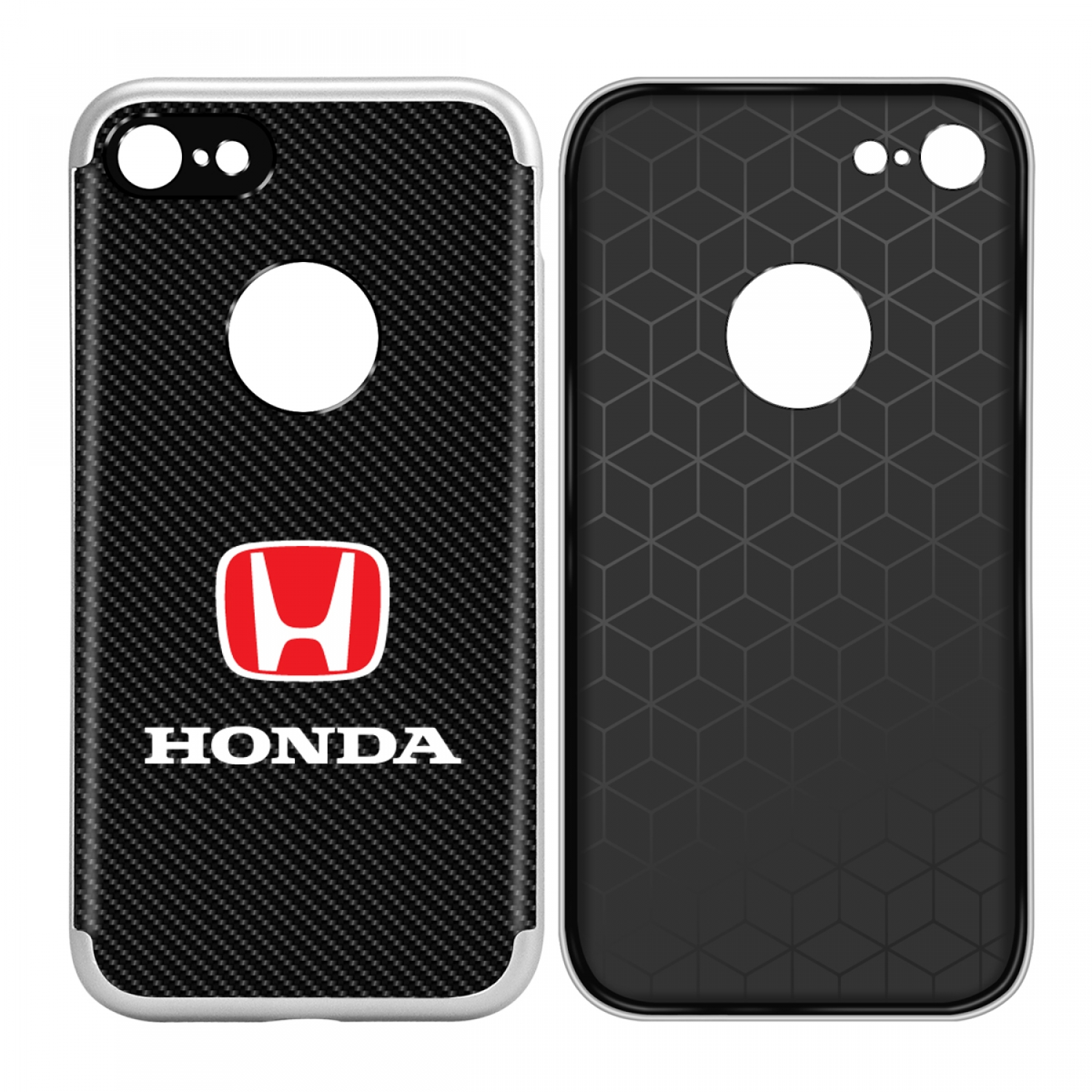 iPhone 7 Case, Honda Red Logo Shockproof Black Carbon Fiber Textures Cell Phone Case