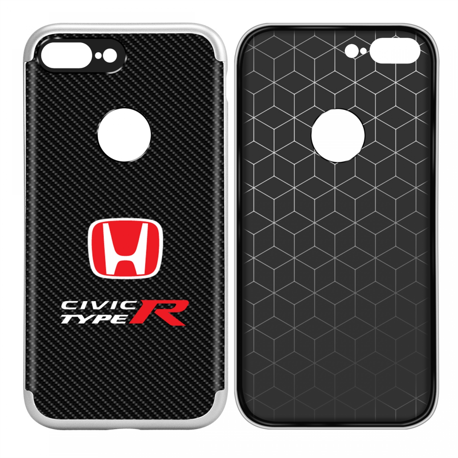 iPhone 7 Plus Case, Honda Red Logo Civic Type R Shockproof Black Carbon Fiber Textures Cell Phone Case