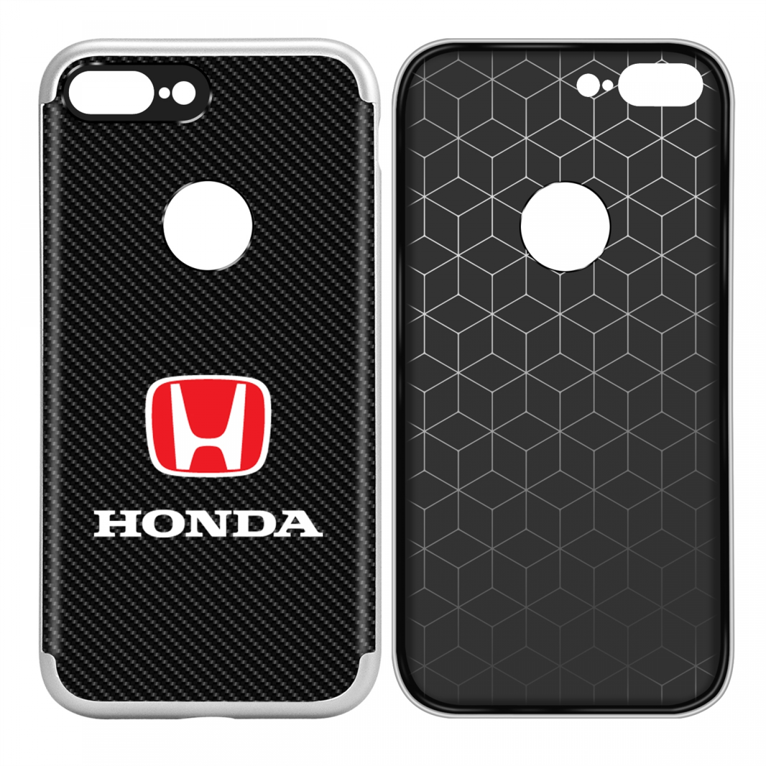 iPhone 7 Plus Case, Honda Red Logo Shockproof Black Carbon Fiber Textures Cell Phone Case