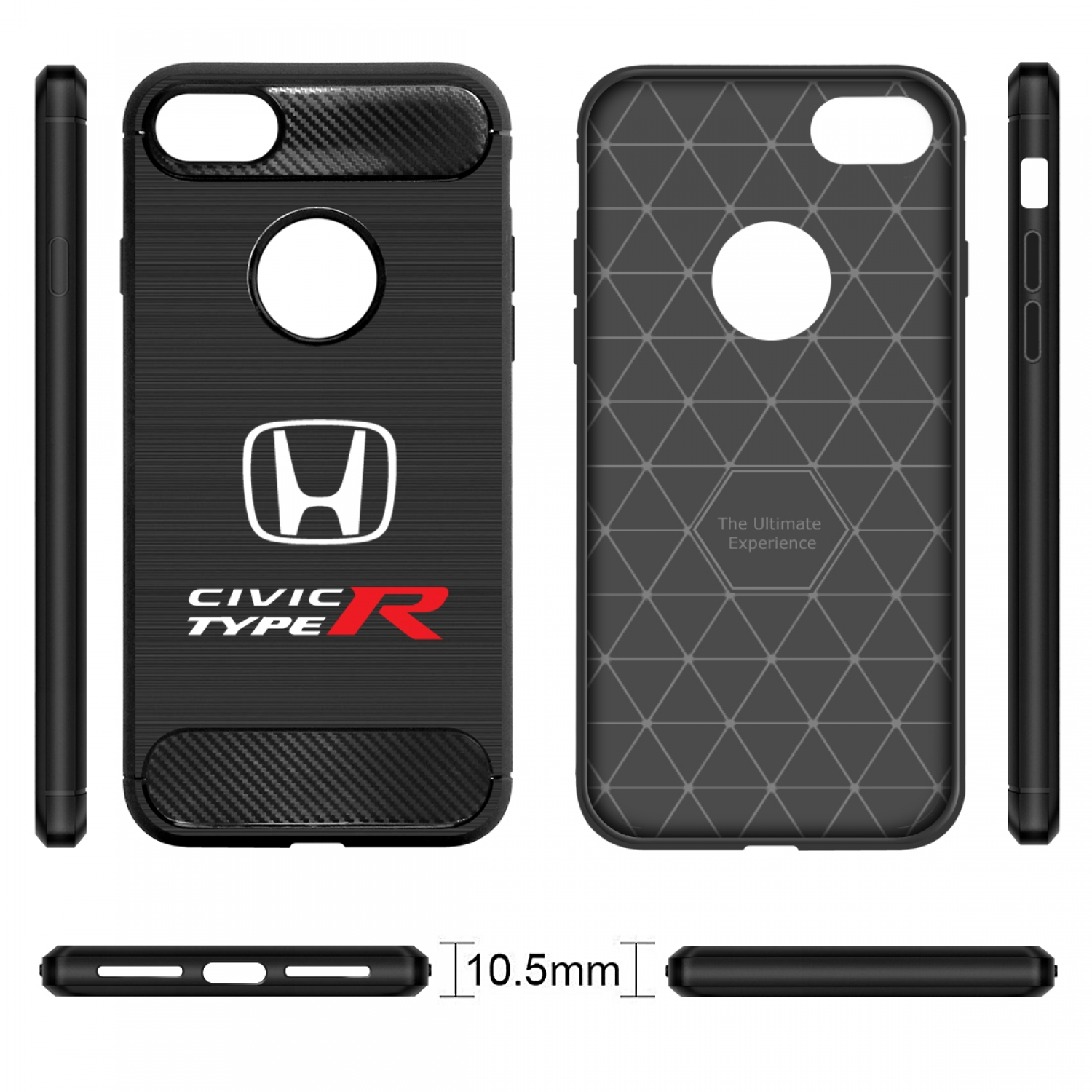 iPhone 7 Case, Honda Civic Type-R Shockproof Black Carbon Fiber Textures Stripes Cell Phone Case