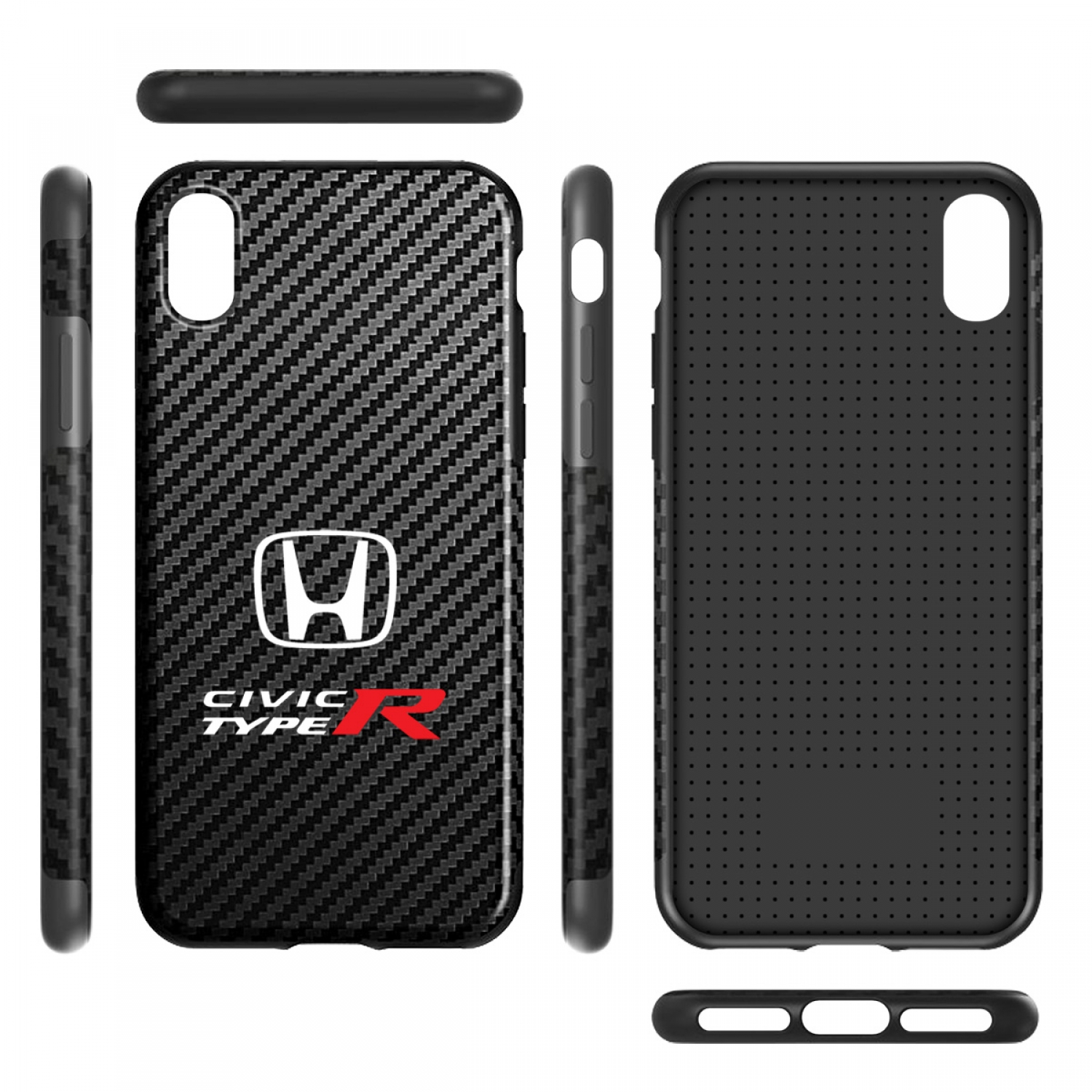 Honda Civic Type-R Black Carbon Fiber Texture Leather TPU Shockproof Cell Phone Case