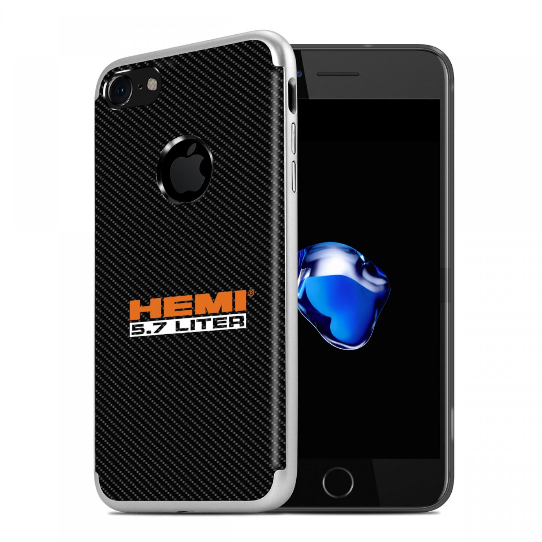 iPhone 7 Case, HEMI 5.7 Liter PC+TPU Shockproof Black Carbon Fiber Textures Cell Phone Case