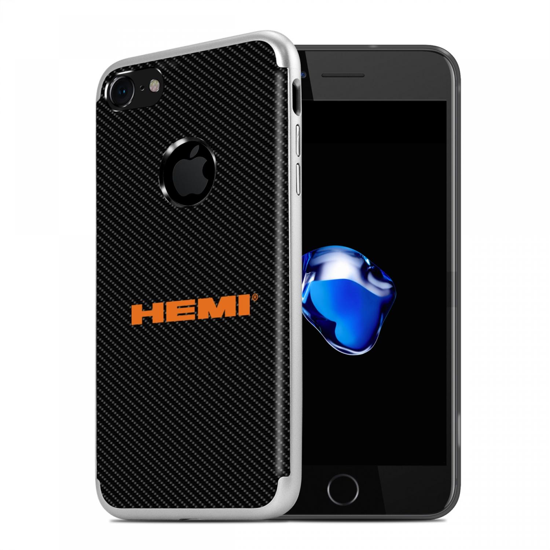 iPhone 7 Case, HEMI Logo PC+TPU Shockproof Black Carbon Fiber Textures Cell Phone Case