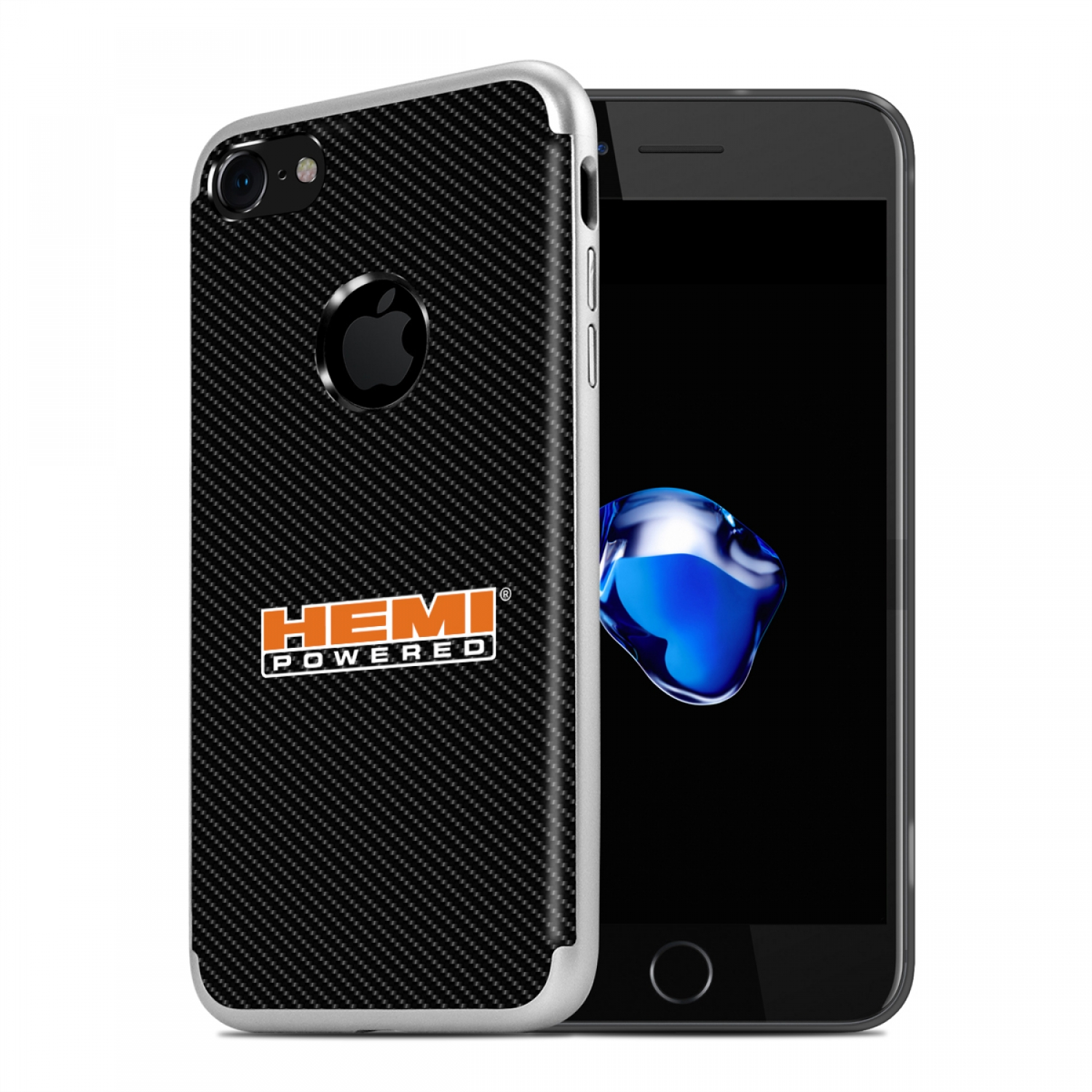 iPhone 7 Case, HEMI Powered PC+TPU Shockproof Black Carbon Fiber Textures Cell Phone Case