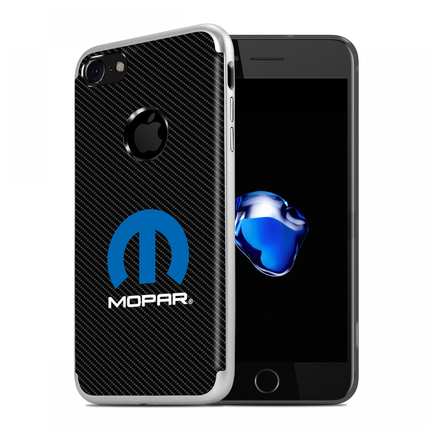iPhone 7 Case, MOPAR Logo PC+TPU Shockproof Black Carbon Fiber Textures Cell Phone Case