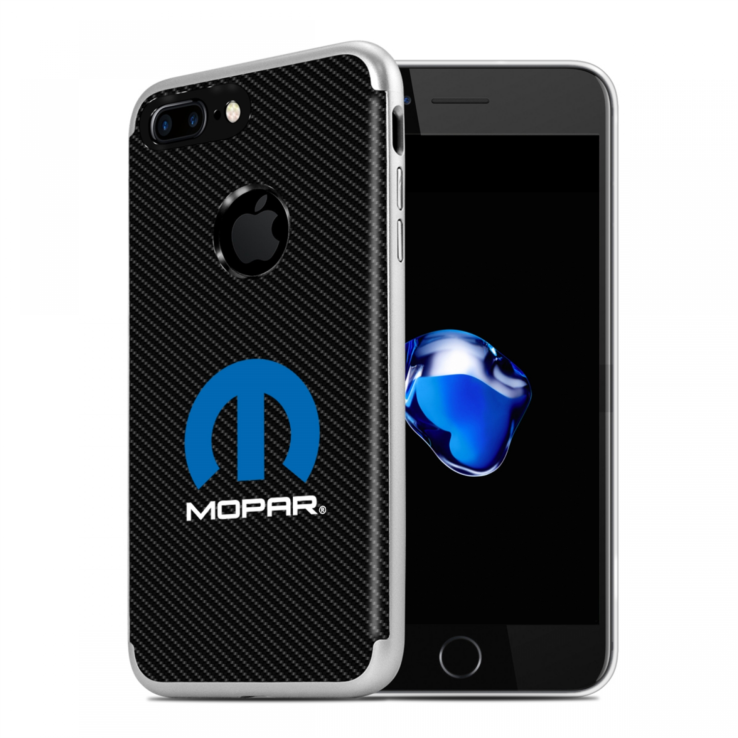 iPhone 7 Plus Case, MOPAR Logo PC+TPU Shockproof Black Carbon Fiber Textures Cell Phone Case