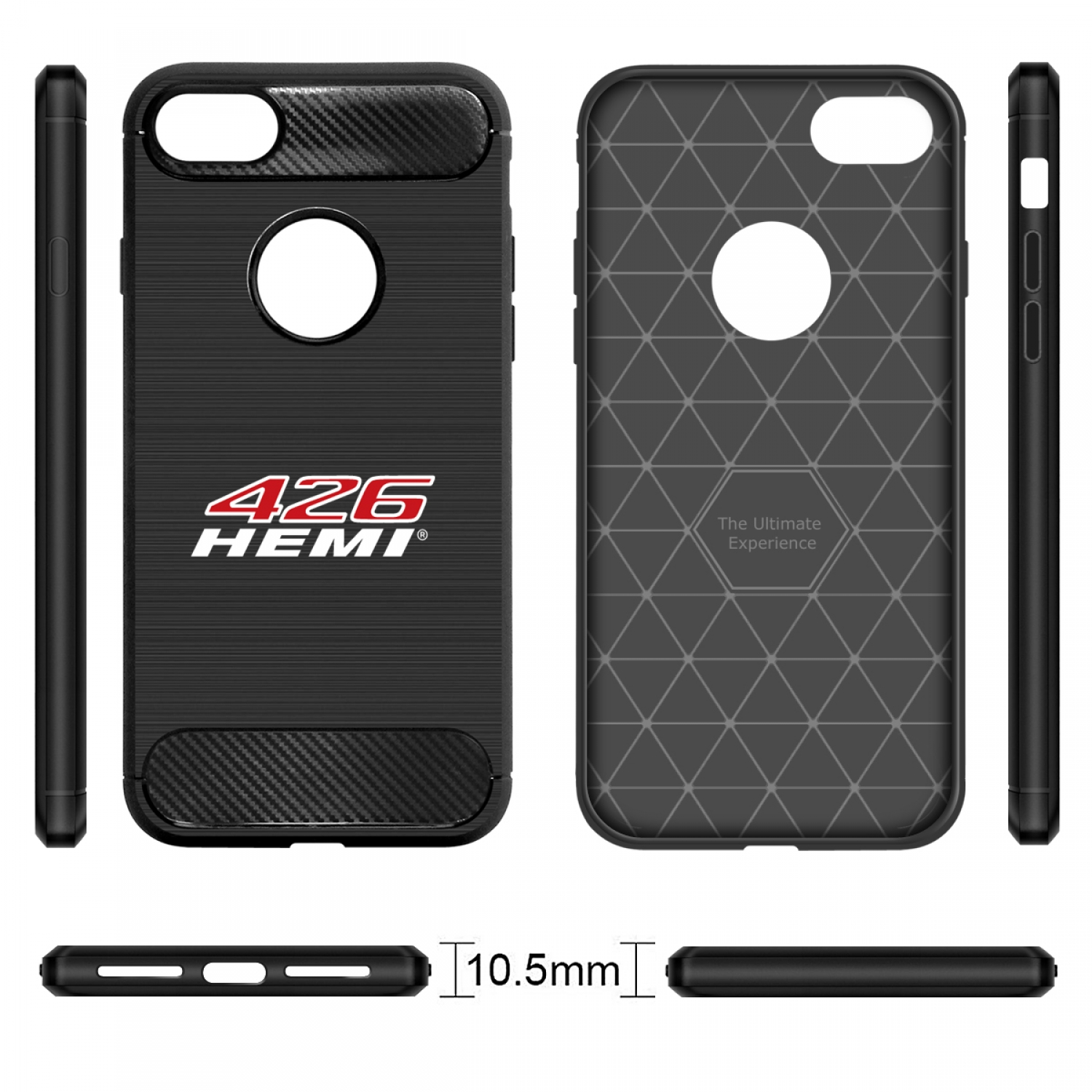 iPhone 7 Case, HEMI 426 HP Black TPU Shockproof Carbon Fiber Textures Cell Phone Case