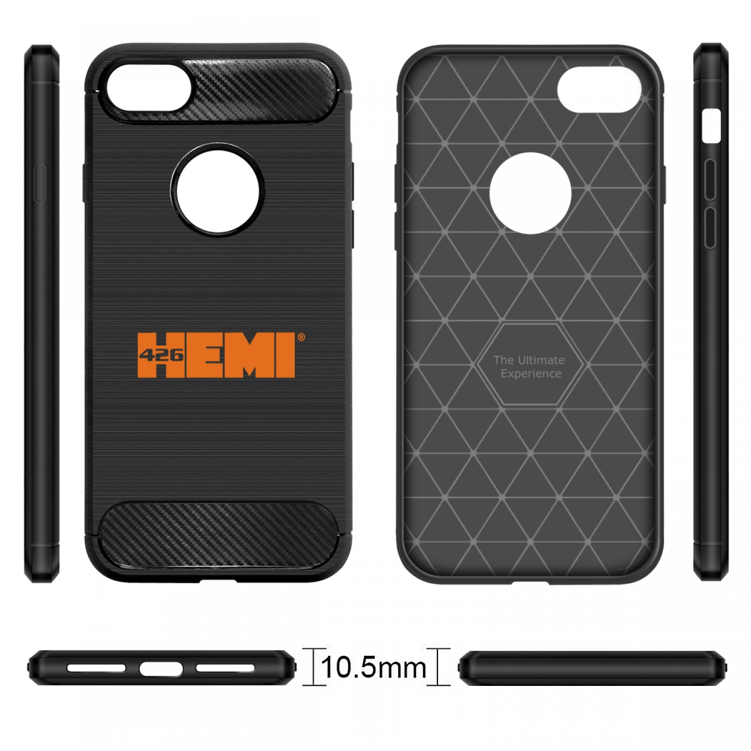 iPhone 7 Case, HEMI 426 in HEMI Black TPU Shockproof Carbon Fiber Textures Cell Phone Case