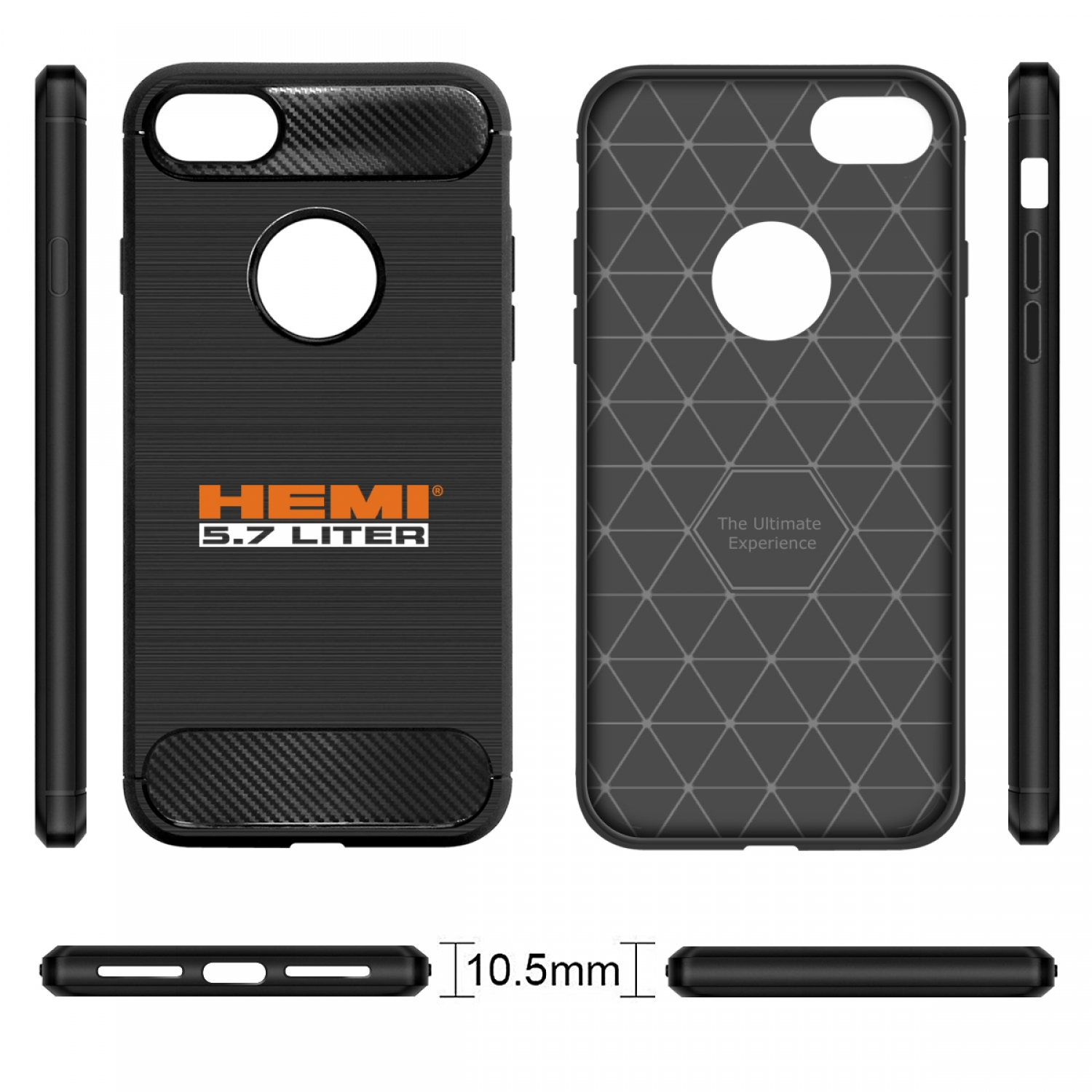 iPhone 7 Case, HEMI 5.7 Liter Black TPU Shockproof Carbon Fiber Textures Cell Phone Case