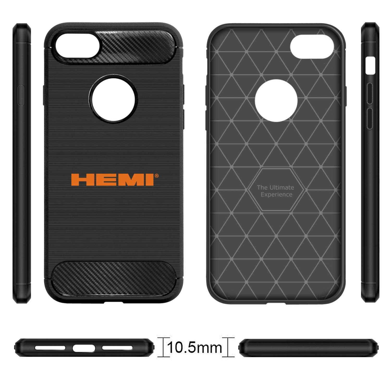 iPhone 7 Case, HEMI Logo Black TPU Shockproof Carbon Fiber Textures Cell Phone Case