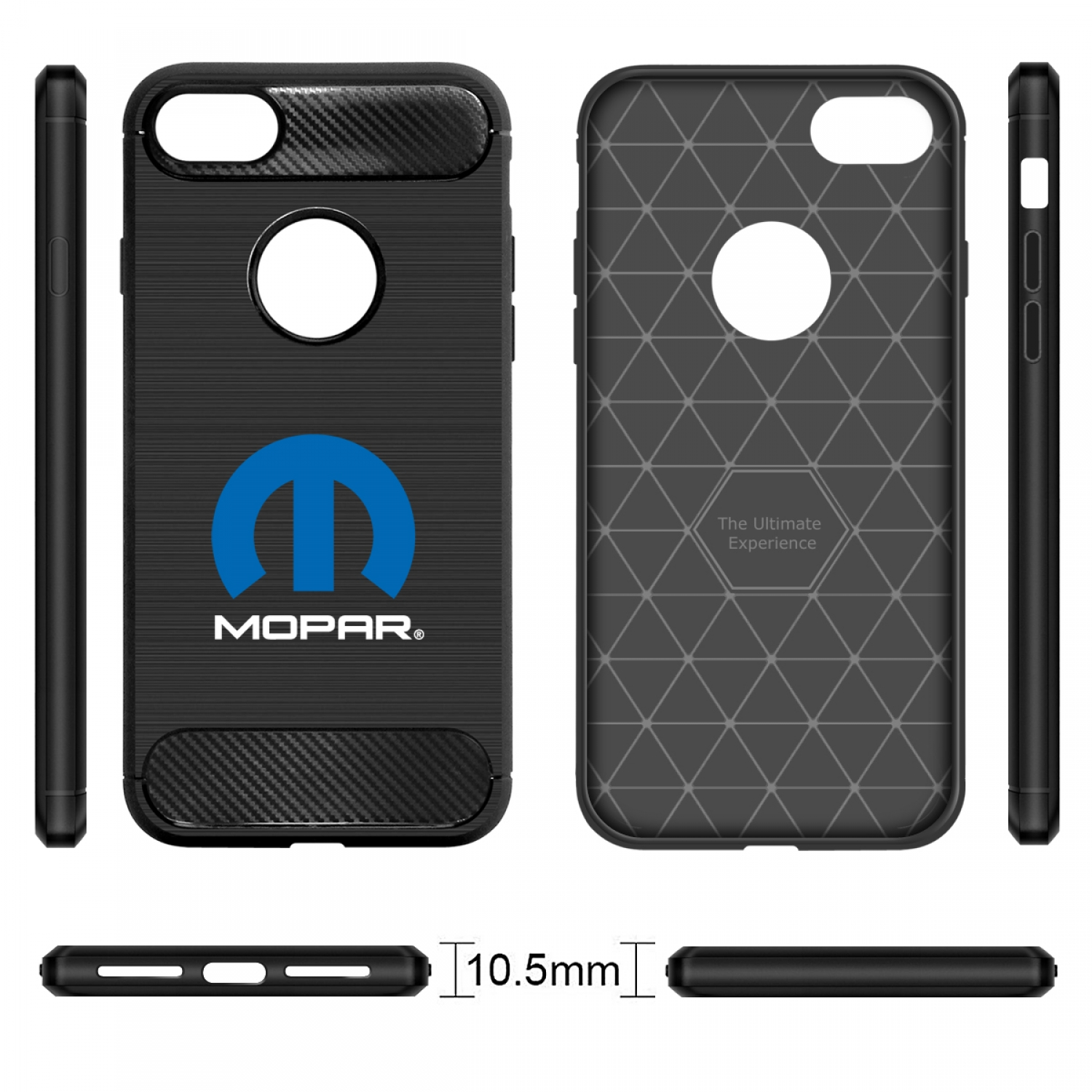 iPhone 7 Case, MOPAR Logo Black TPU Shockproof Carbon Fiber Textures Cell Phone Case