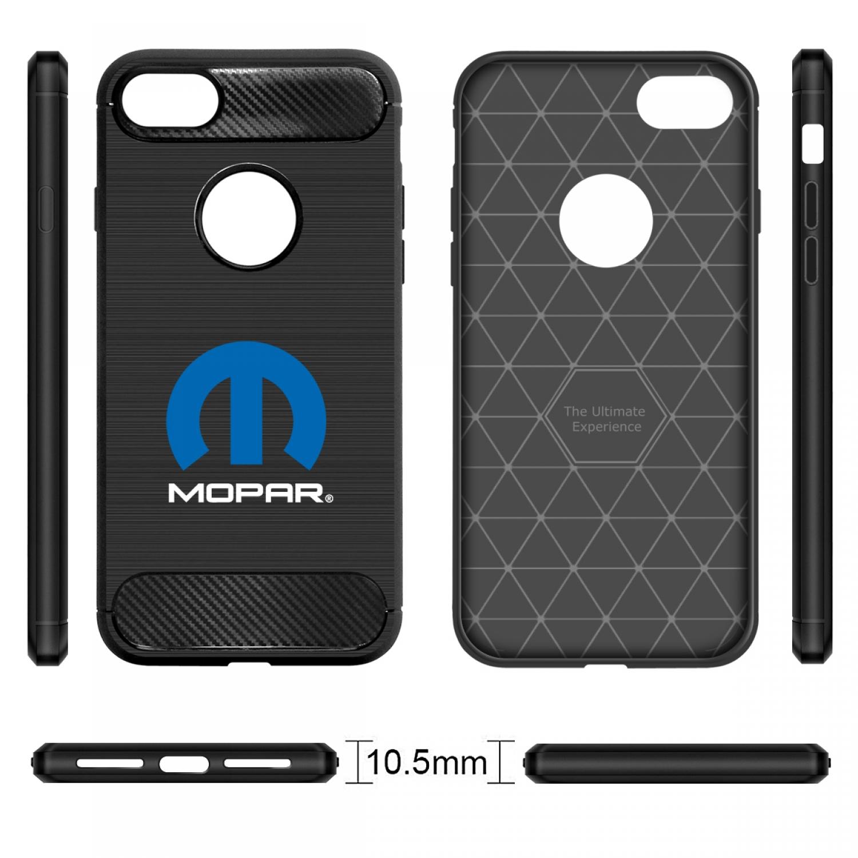 iPhone 7 Case, MOPAR Logo Black TPU Shockproof Carbon Fiber Textures Cell Phone Case
