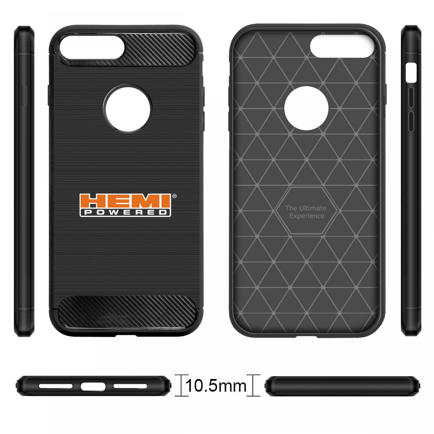 iPhone 7 Plus Case, HEMI Powered Black TPU Shockproof Carbon Fiber Textures Cell Phone Case