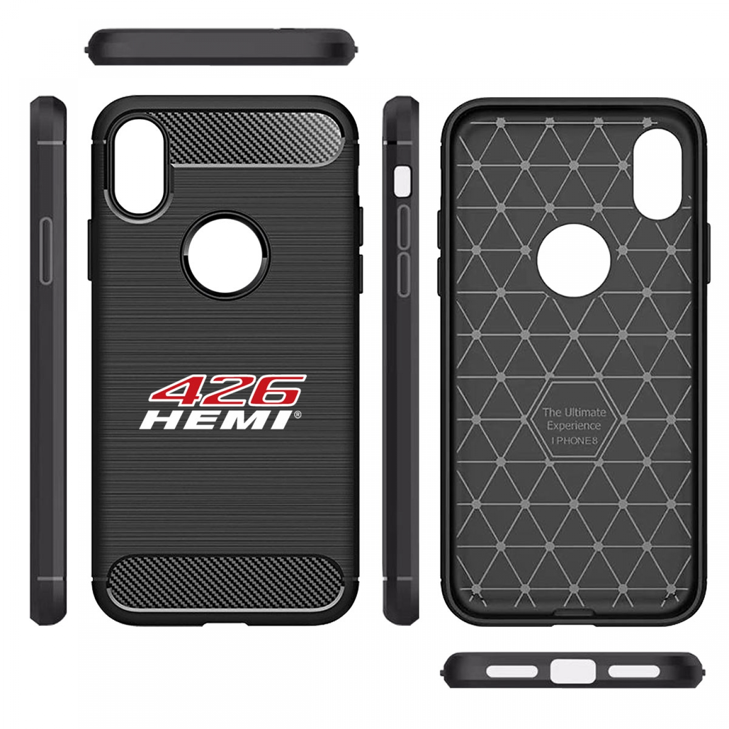 HEMI 426 HP iPhone X TPU Shockproof Black Carbon Fiber Textures Stripes Cell Phone Case