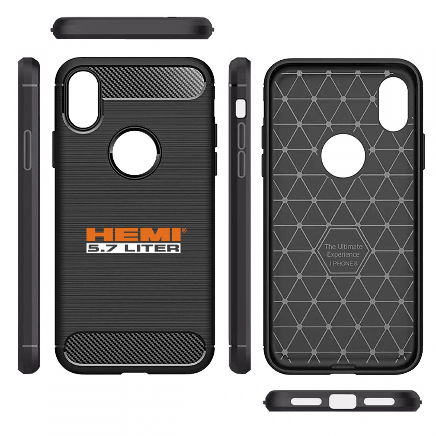 HEMI 5.7 Liter iPhone X TPU Shockproof Black Carbon Fiber Textures Stripes Cell Phone Case