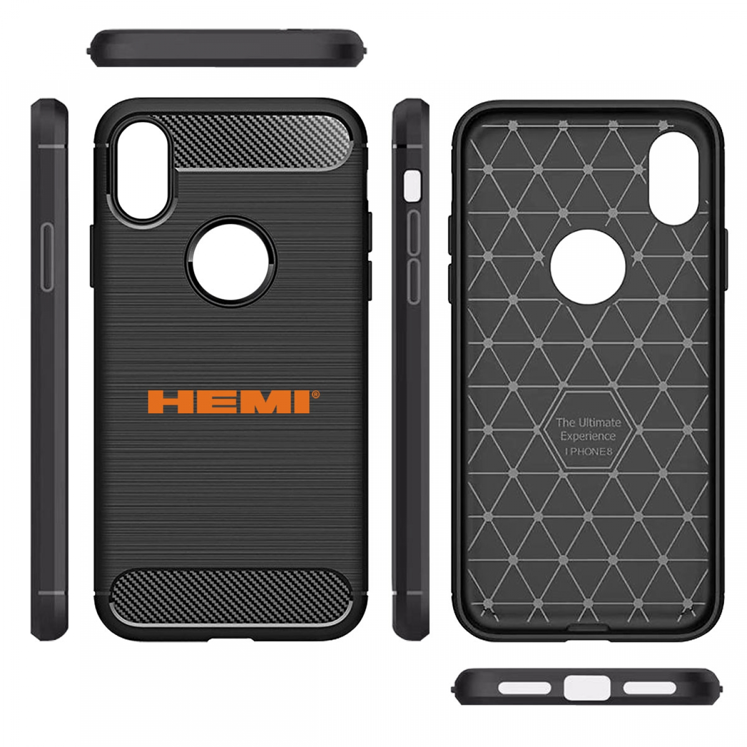 HEMI Logo iPhone X TPU Shockproof Black Carbon Fiber Textures Stripes Cell Phone Case