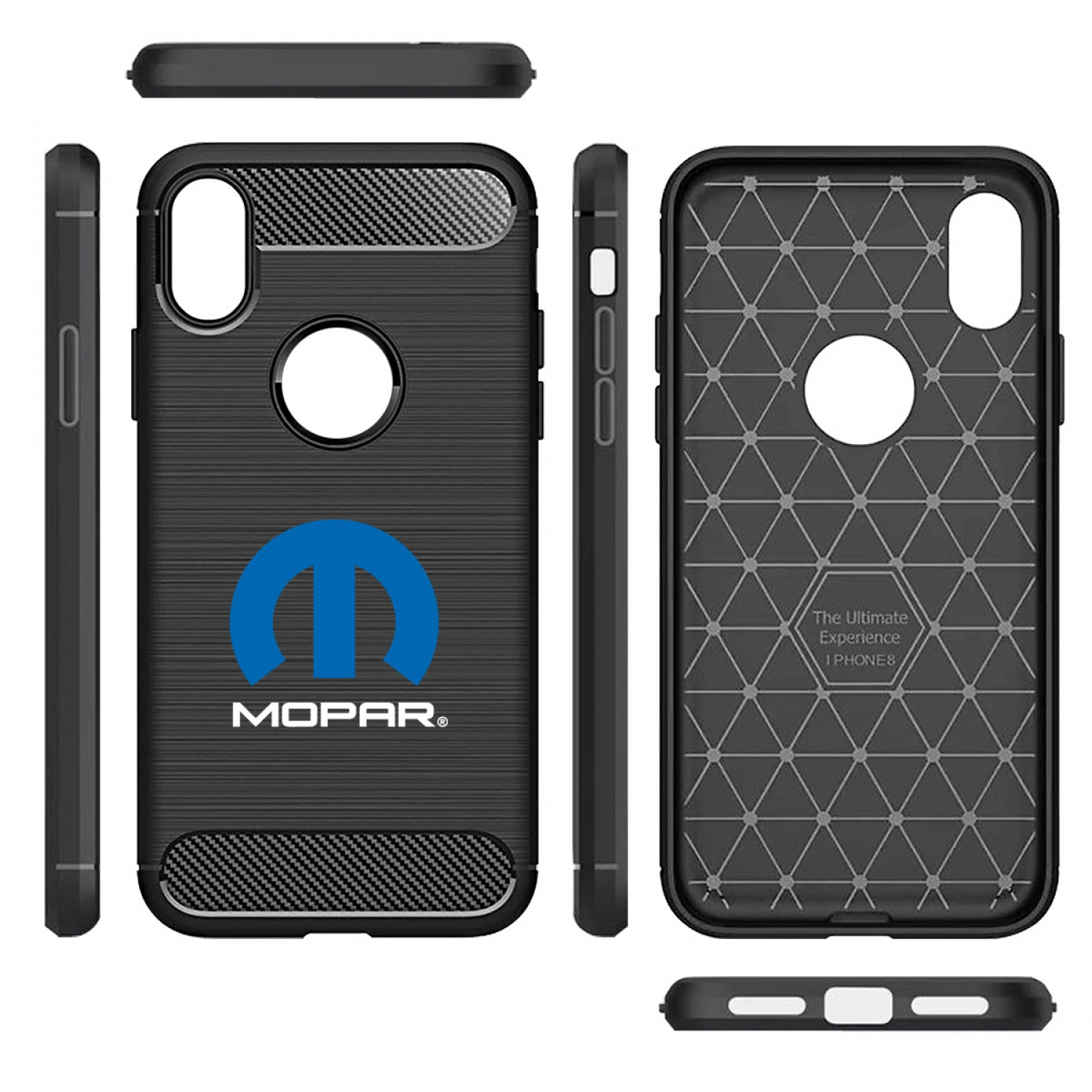 MOPAR Logo iPhone X TPU Shockproof Black Carbon Fiber Textures Stripes Cell Phone Case