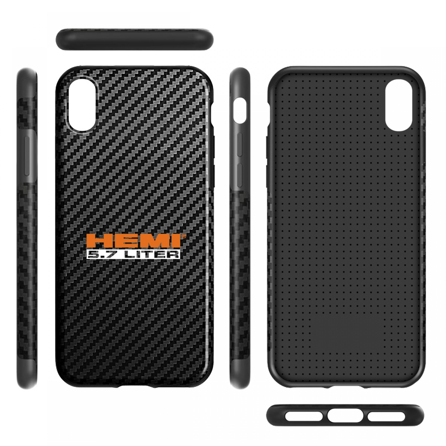 HEMI 5.7 Liter iPhone X Black Carbon Fiber Texture Leather TPU Shockproof Cell Phone Case