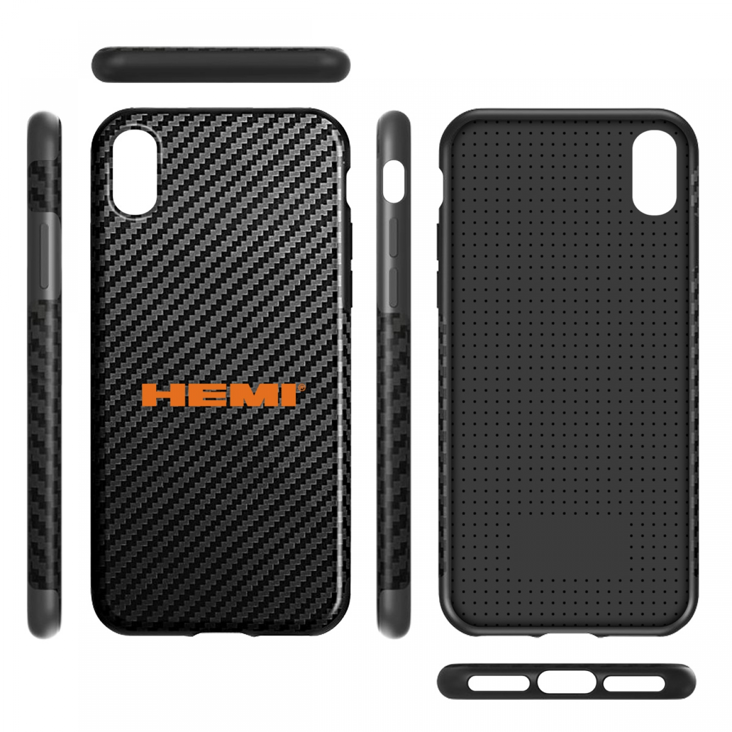 HEMI Logo iPhone X Black Carbon Fiber Texture Leather TPU Shockproof Cell Phone Case