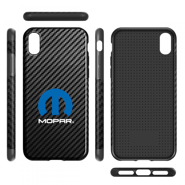 MOPAR Logo iPhone X Black Carbon Fiber Texture Leather TPU Shockproof Cell Phone Case