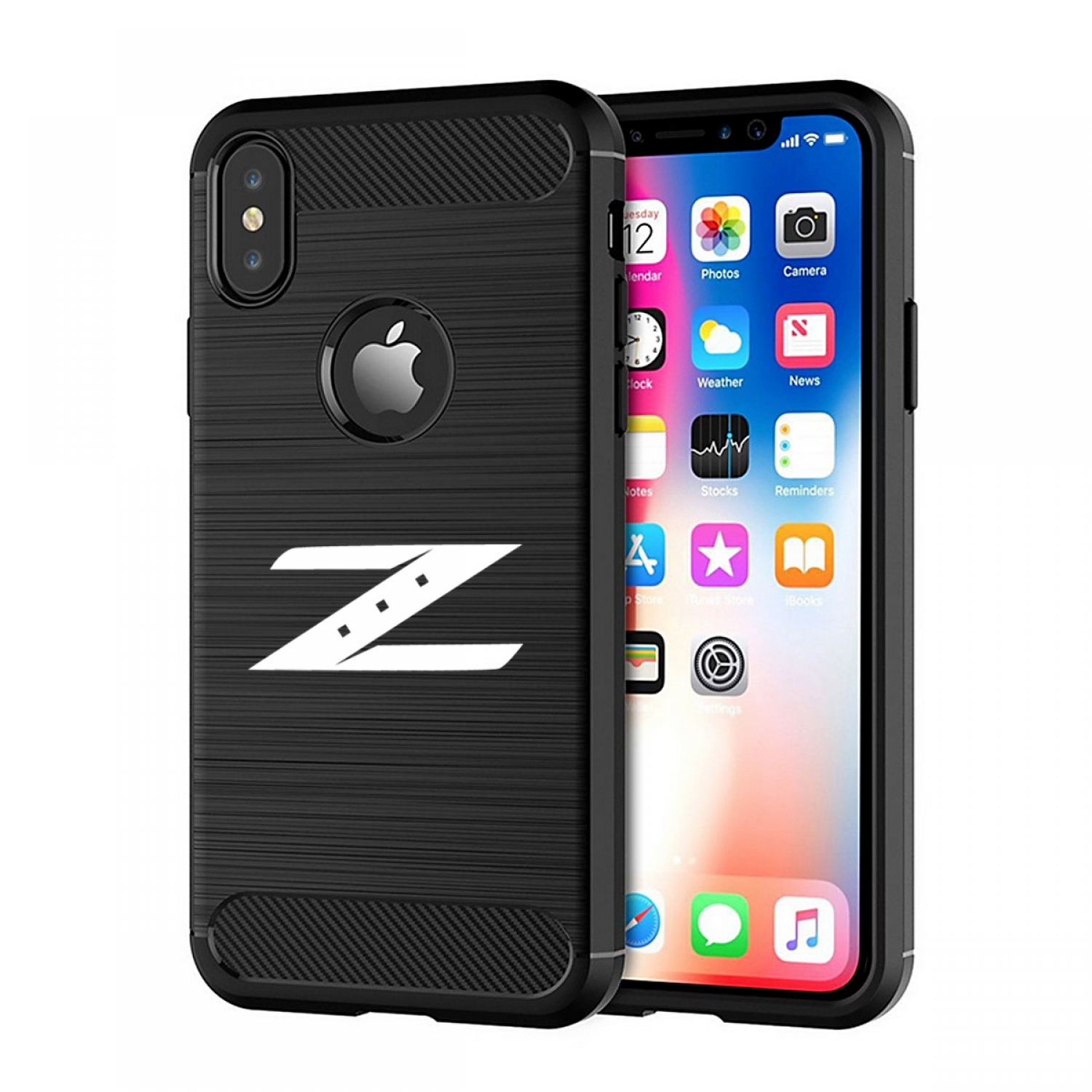 Nissan 350Z Z Logo iPhone X TPU Shockproof Black Carbon Fiber Textures Stripes Cell Phone Case