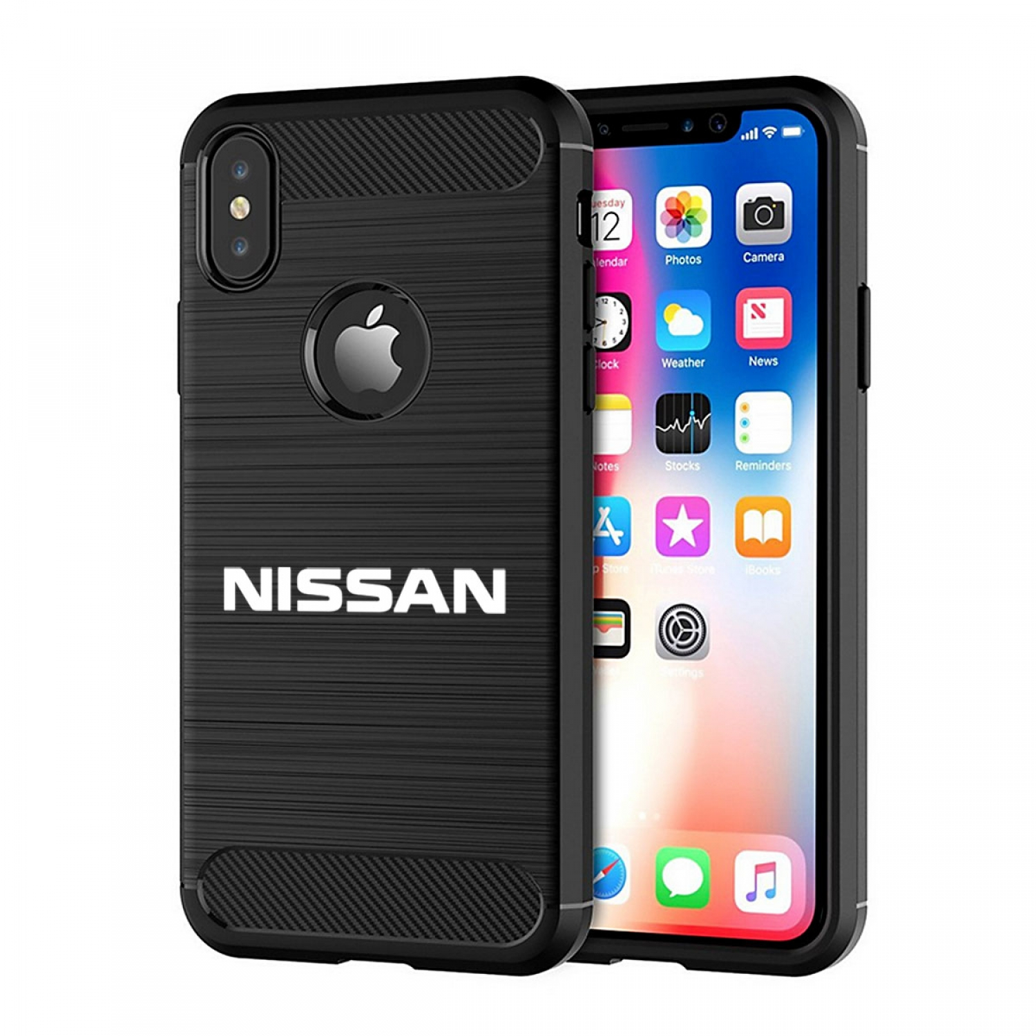 Nissan Name iPhone X TPU Shockproof Black Carbon Fiber Textures Stripes Cell Phone Case