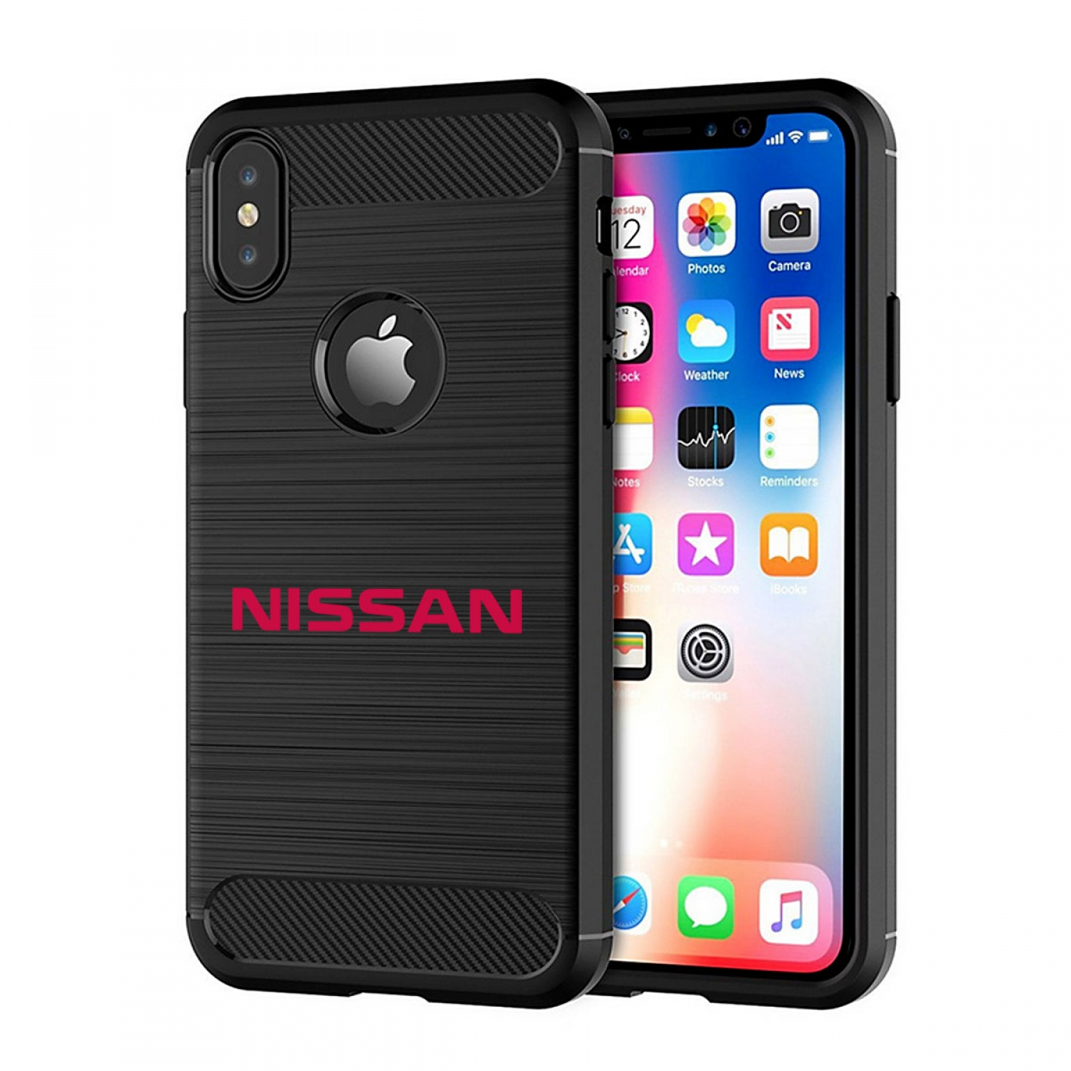 Nissan in Red iPhone X TPU Shockproof Black Carbon Fiber Textures Stripes Cell Phone Case