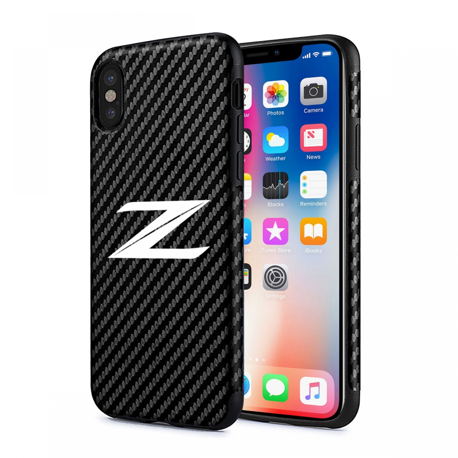 Nissan 370Z Z Logo iPhone X Black Carbon Fiber Texture Leather TPU Shockproof Cell Phone Case