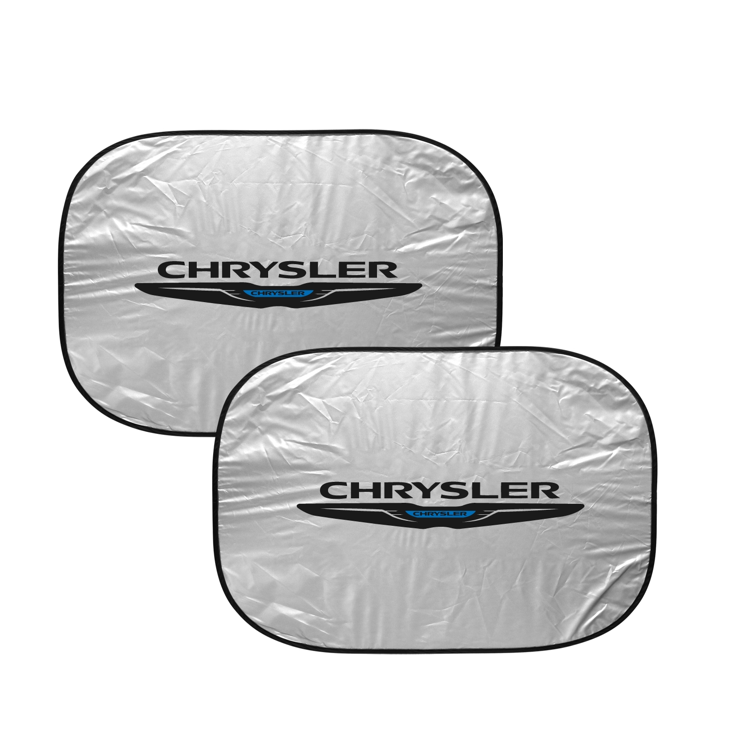 "Chrysler Logo Dual Panels 2-28"" W x 24"" L Easy Folding Windshield Sun Shade"