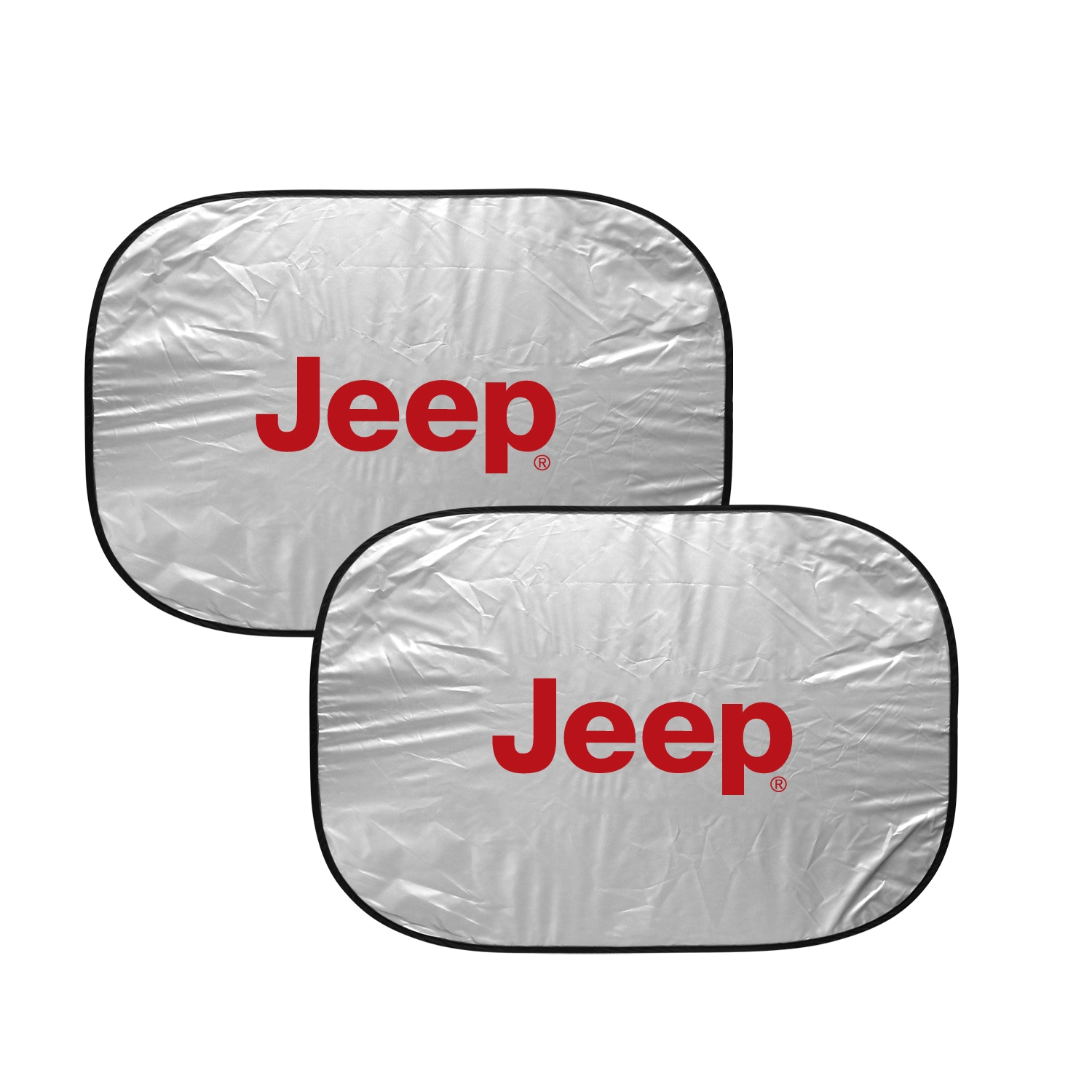 "Jeep in Red Logo Dual Panels 2-28"" W x 24"" L Easy Folding Windshield Sun Shade"