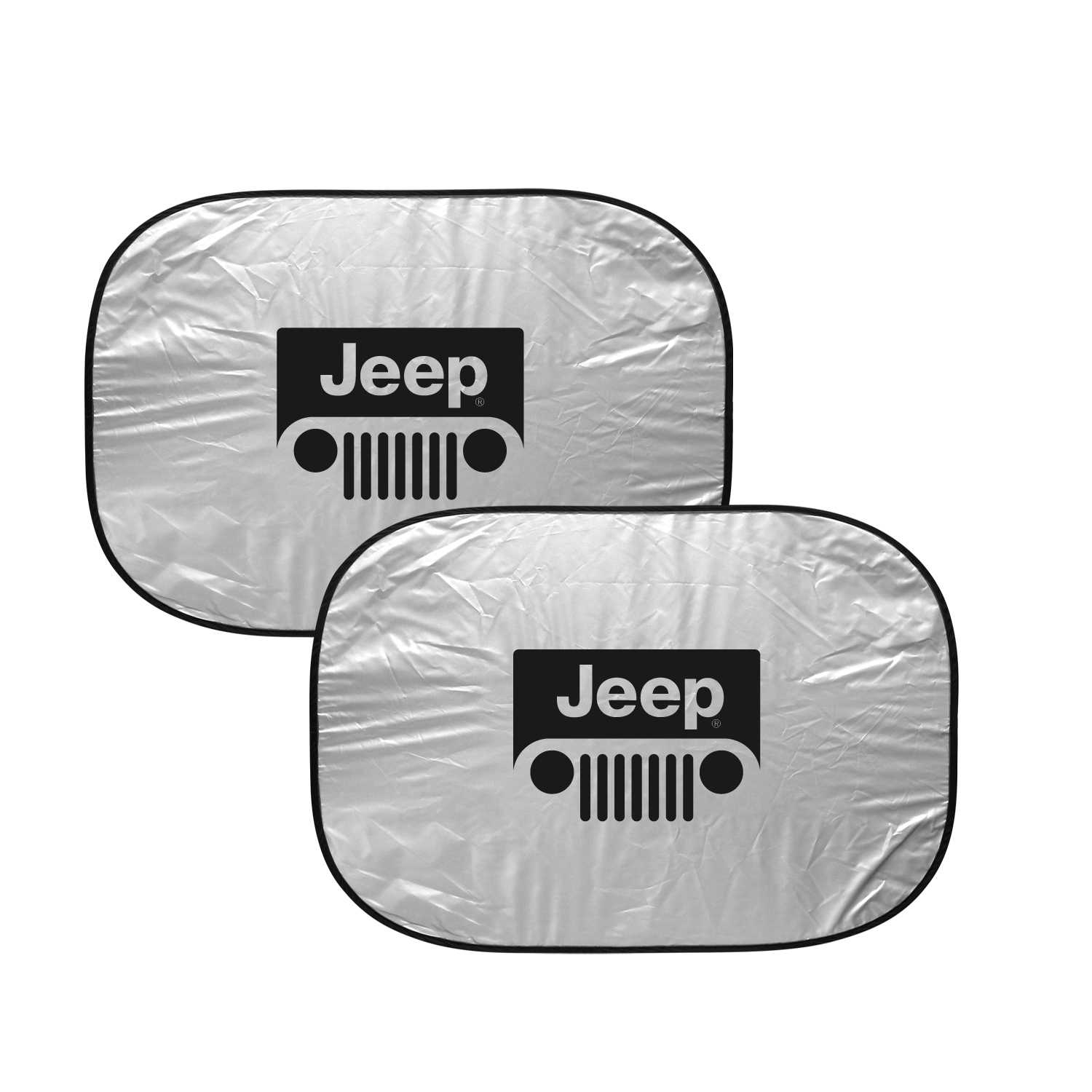"Jeep Grill Logo Dual Panels 2-28"" W x 24"" L Easy Folding Windshield Sun Shade"