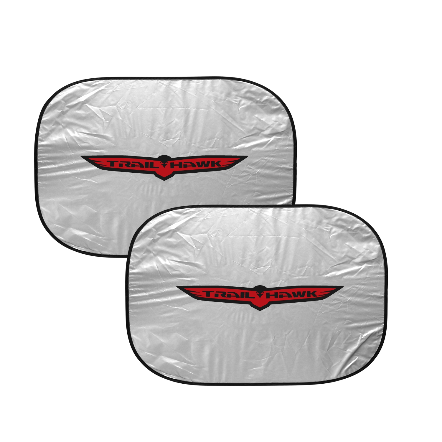 "Jeep Trailhawk Logo Dual Panels 2-28"" W x 24"" L Easy Folding Windshield Sun Shade"
