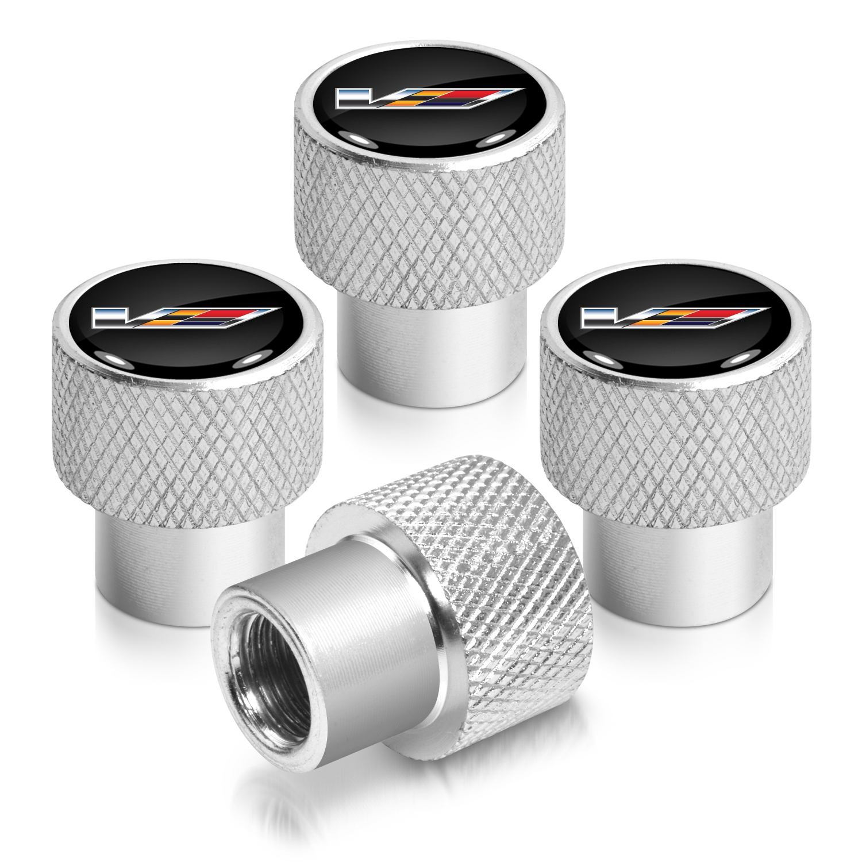 Cadillac V Logo in Black on Shining Silver Aluminum Tire Valve Stem Caps