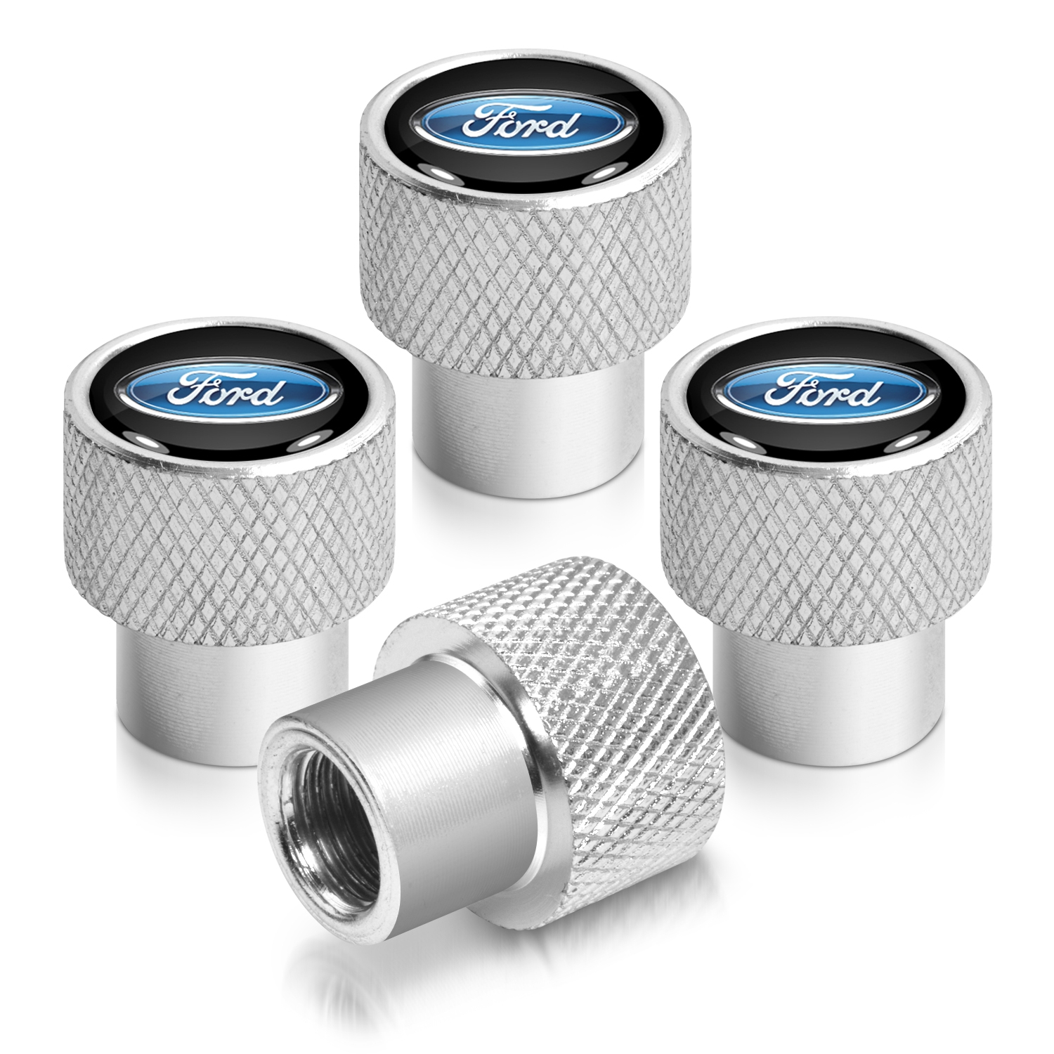Ford Logo in Black on Silver Chrome Aluminum Tire Valve Stem Caps