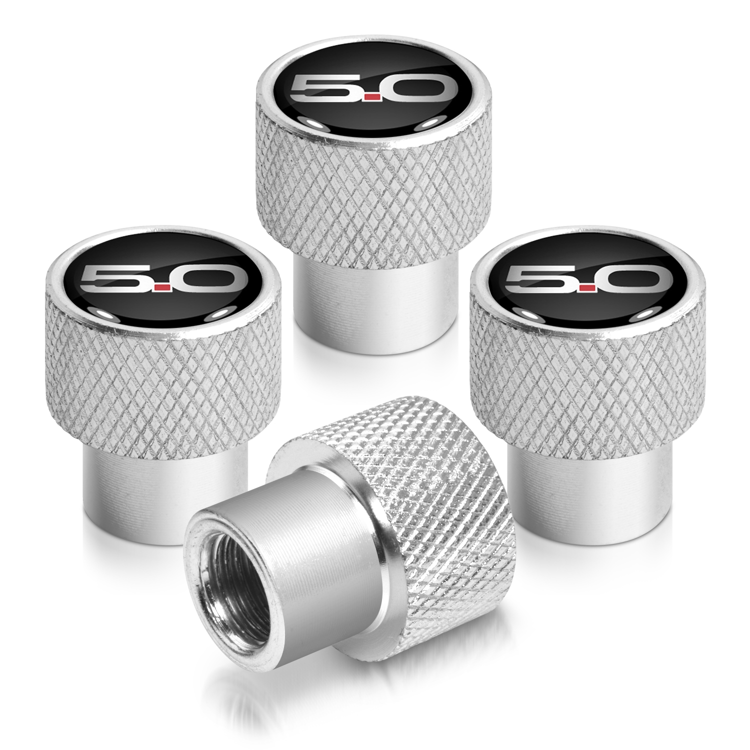 Ford Mustang 5.0 in Black on Silver Chrome Aluminum Tire Valve Stem Caps