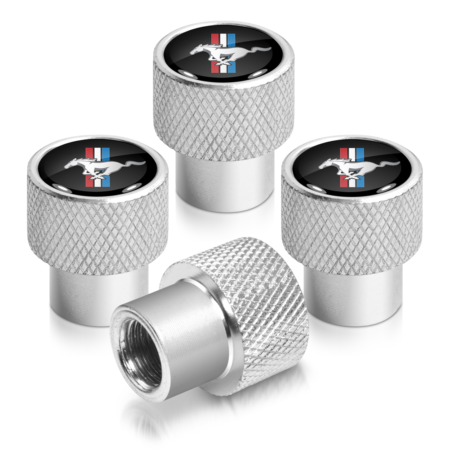 Ford Mustang Tri-Bar in Black on Silver Chrome Aluminum Tire Valve Stem Caps