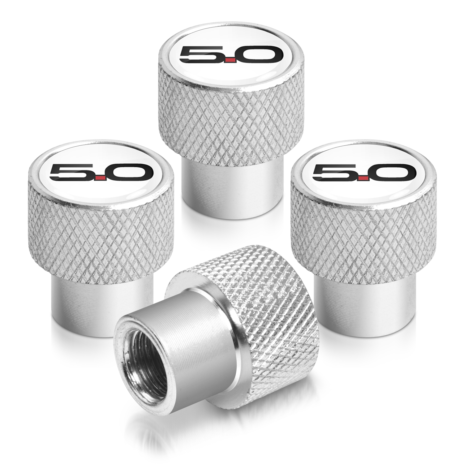 Ford Mustang 5.0 in White on Silver Chrome Aluminum Tire Valve Stem Caps