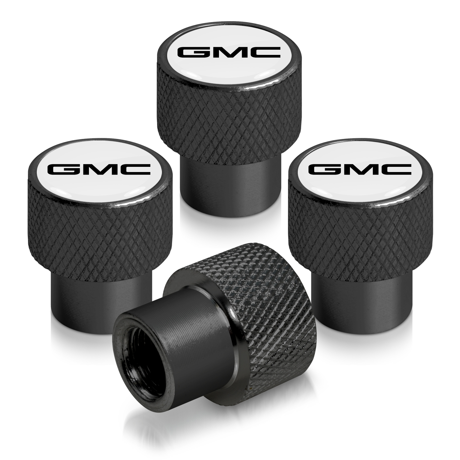 GMC Logo in Black on Black Aluminum Tire Valve Stem Caps