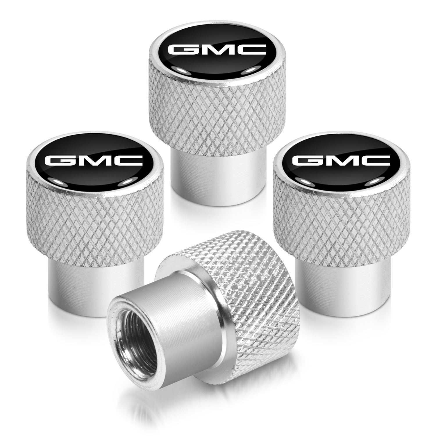 GMC Logo in Black on Shining Silver Aluminum Tire Valve Stem Caps
