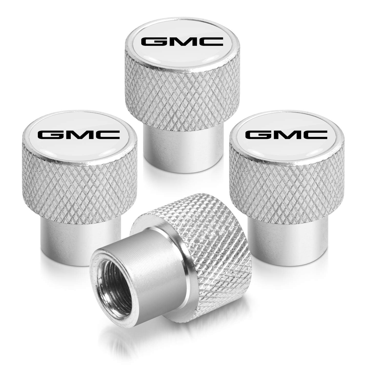 GMC Logo in White on Shining Silver Aluminum Tire Valve Stem Caps