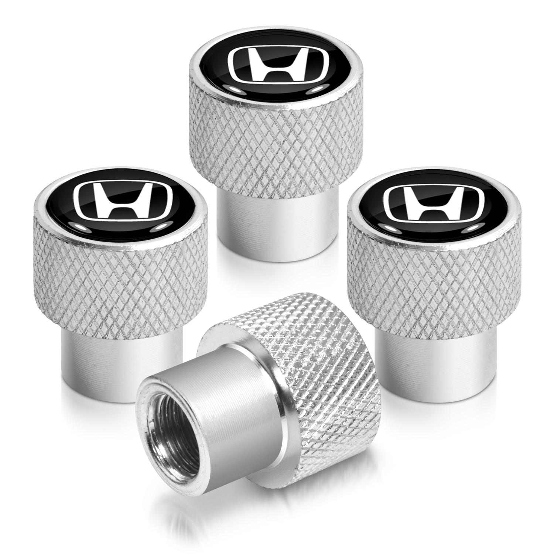 Honda Logo in Black on Shining Silver Aluminum Tire Valve Stem Caps