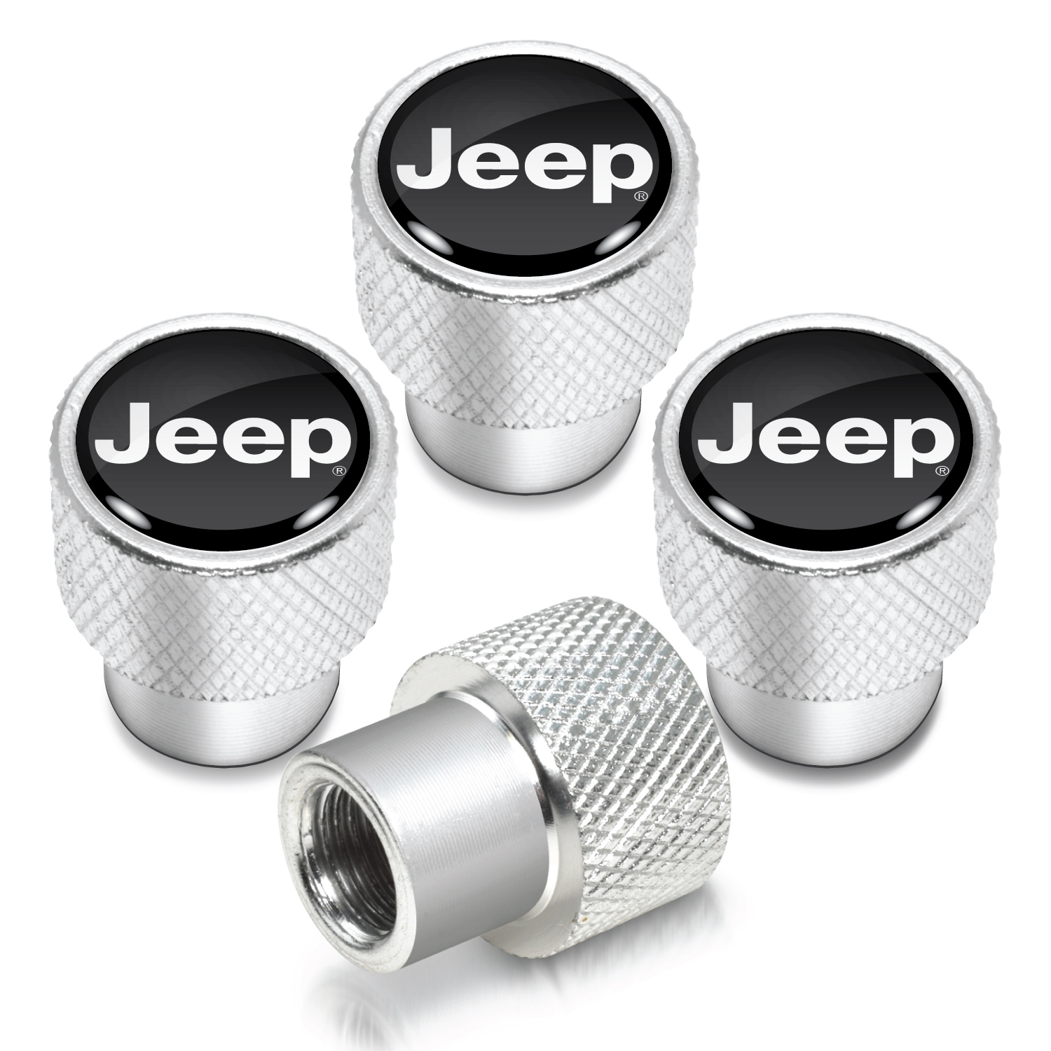 Jeep in Black on Shining Silver Aluminum Tire Valve Stem Caps
