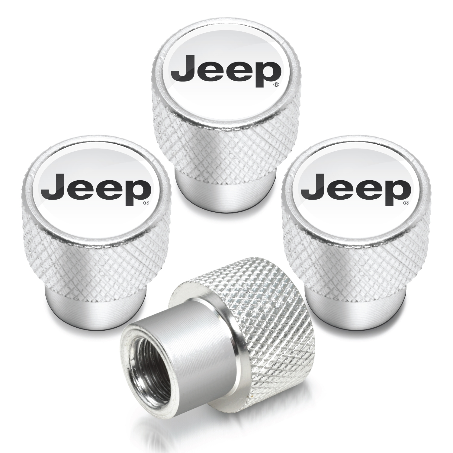Jeep in White on Shining Silver Aluminum Tire Valve Stem Caps